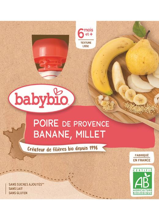 4x BABYBIO Kapsička hruška, banán, proso (90 g)