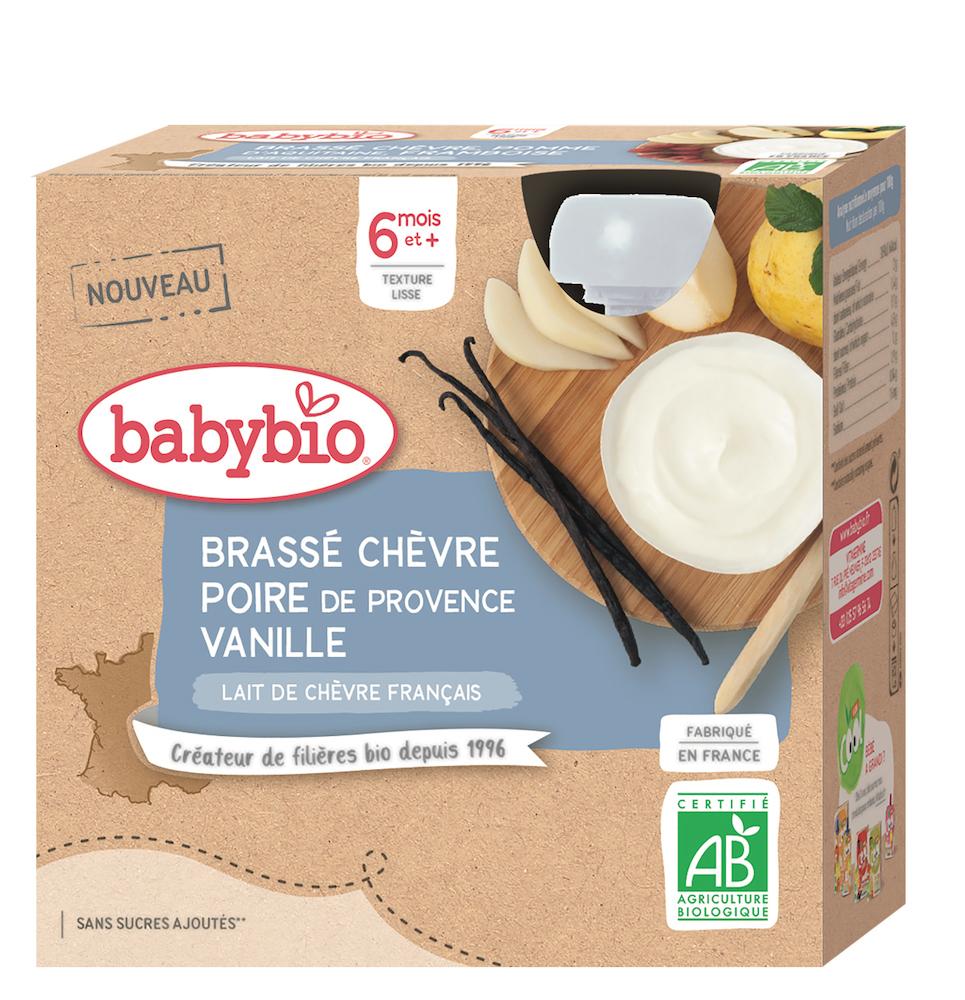 4x BABYBIO Desiata z kozieho mlieka s hruškou a vanilkou (85 g)