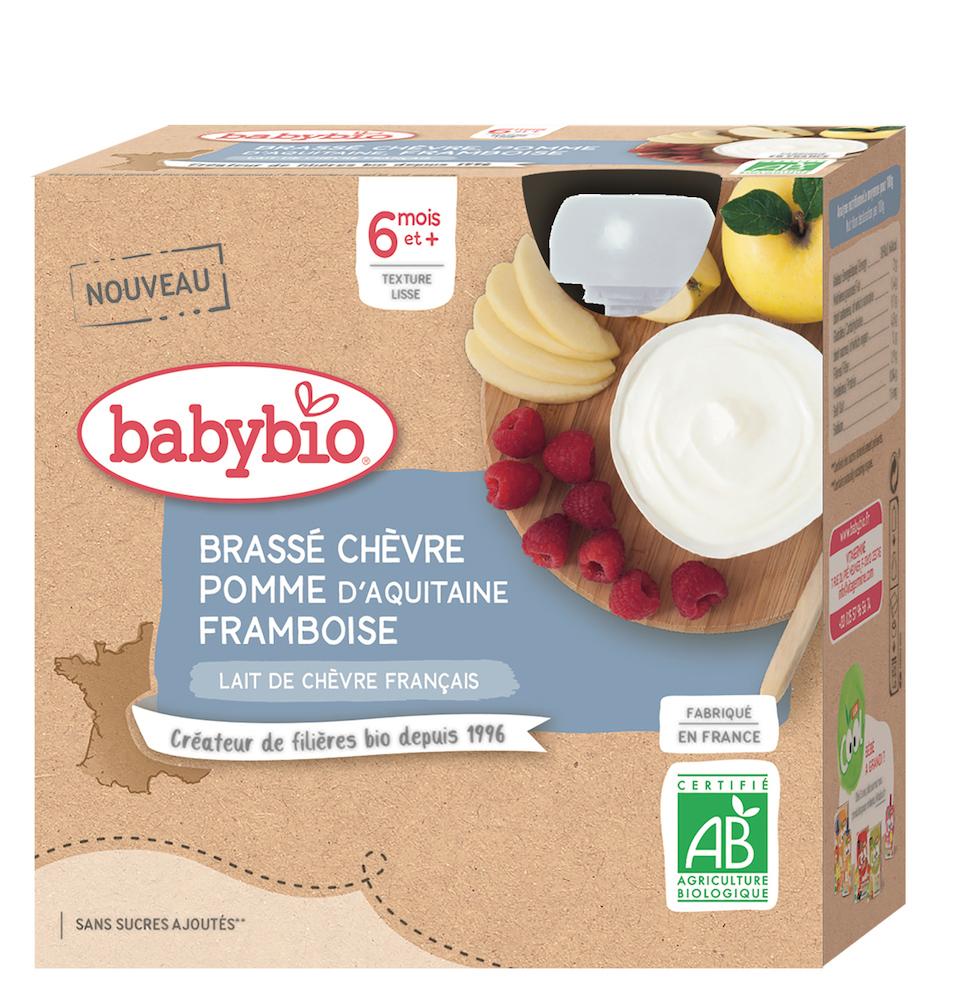 4x BABYBIO Desiata z kozieho mlieka s jablkom a malinami (85 g)