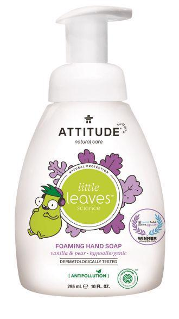 ATTITUDE Detské penivé mydlo na ruky Little Leaves s vôňou vanilky a hrušky, 295 ml