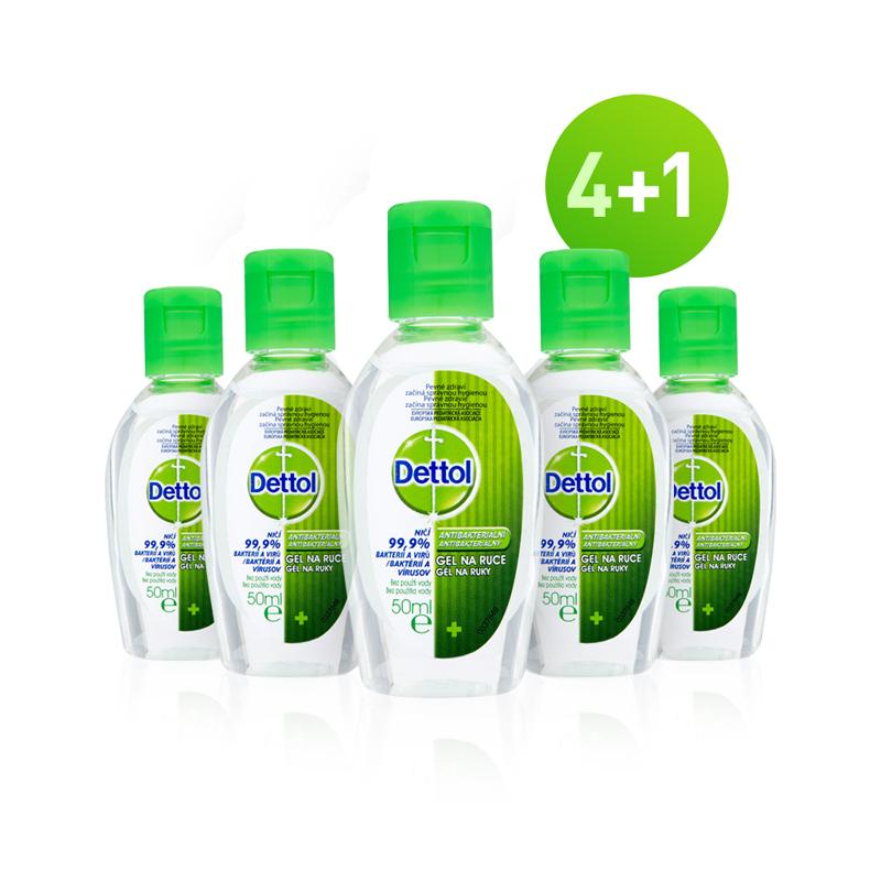 DETTOL Gély na ruky antibakteriálne 5 x 50 ml (4+1)