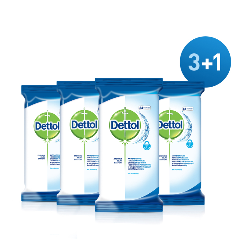 DETTOL Obrúsky na povrchy antibakteriálne 4 x 84 ks (3+1)