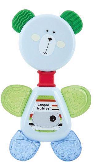 CANPOL BABIES Hryzačka chladiaca s hrkálkou medvedík - bielo-zelená