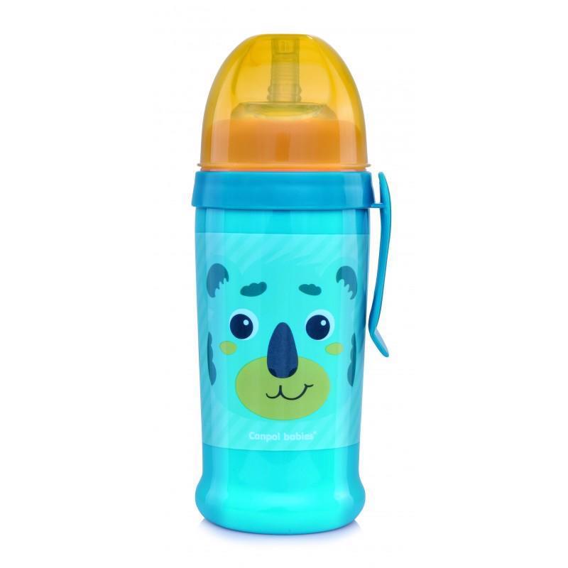 CANPOL BABIES Fľaša športová s netečúcou slamkou Hello Little 350ml zelená