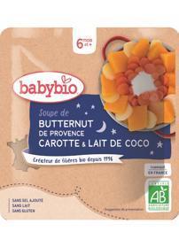 BABYBIO Polievka z maslovej tekvice s mrkvou a kokosovým mliekom (190 g) -zeleninový príkrm