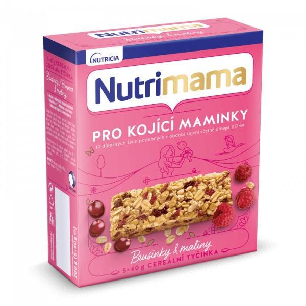 NUTRILON NUTRIMAMA Tyčinky cereálne Profutura Brusnice a maliny 5x40g