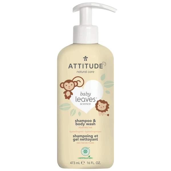 ATTITUDE Detské telové mydlo a šampón 2v1 Baby leaves s vôňou hruškovej šťavy 473 ml