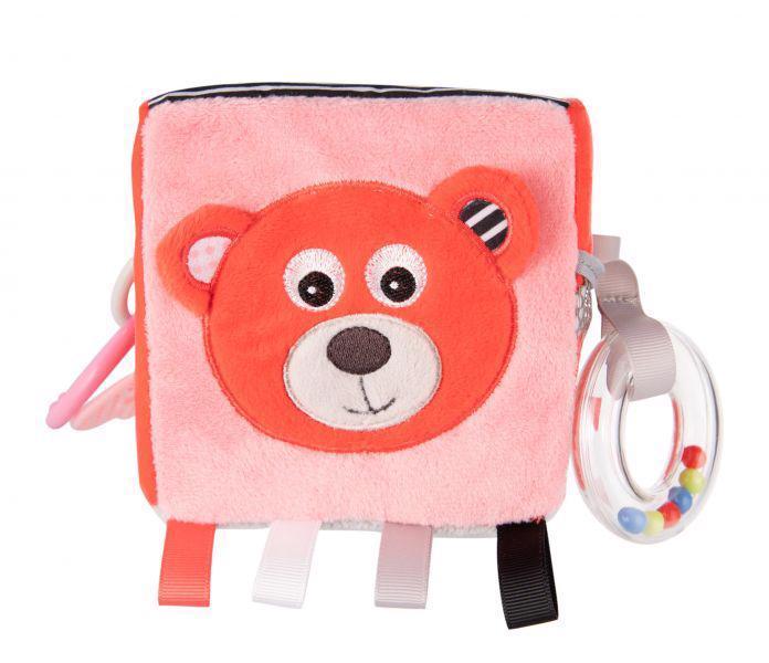 CANPOL BABIES Plyšová senzorická kocka Medvedíky červená