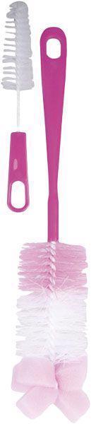CANPOL BABIES Kefa na čistenie fliaš s hubkou - ružová