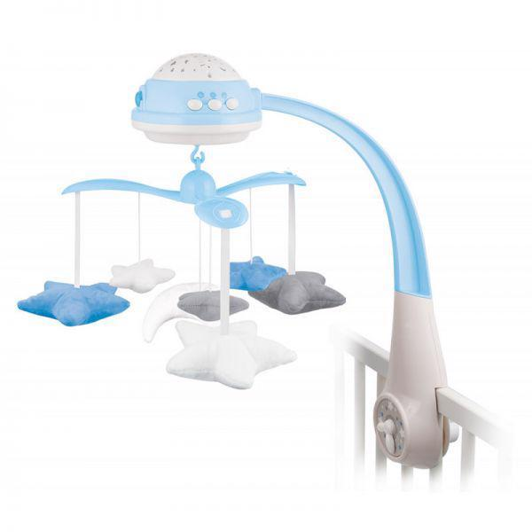 CANPOL BABIES Plyšový hudobný kolotoč s projektorom hviezdičky modrý