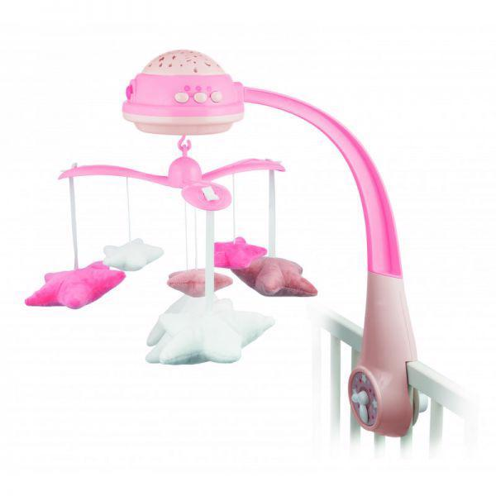 CANPOL BABIES Plyšový hudobný kolotoč s projektorom hviezdičky ružový