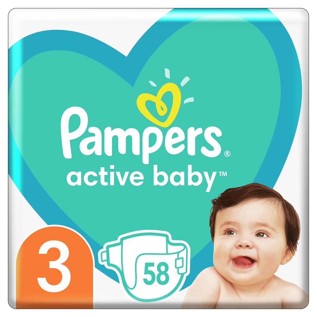 PAMPERS Active Baby jednorazové plienky veľ. 3, 58 ks, 6-10 kg