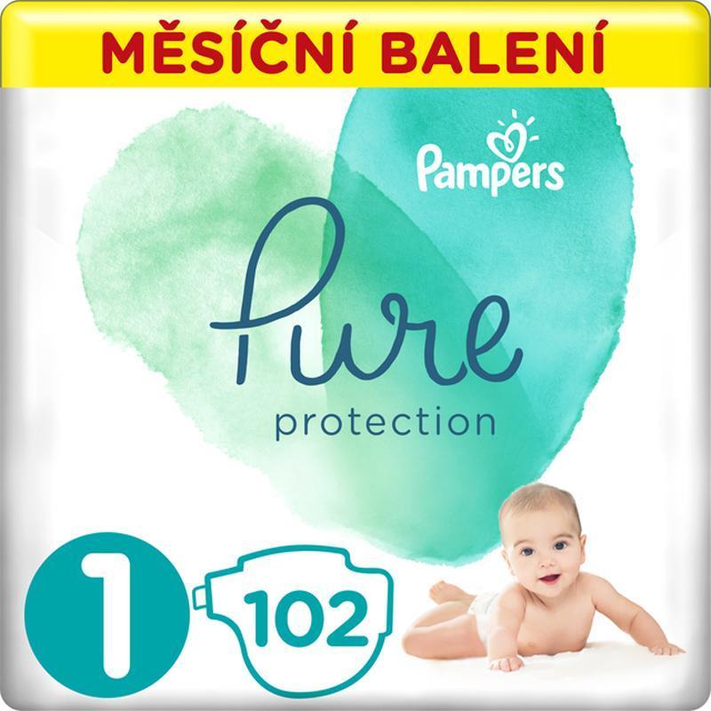 PAMPERS Pure Protection 1 (2-5 kg) 102 ks - jednorázové plienky