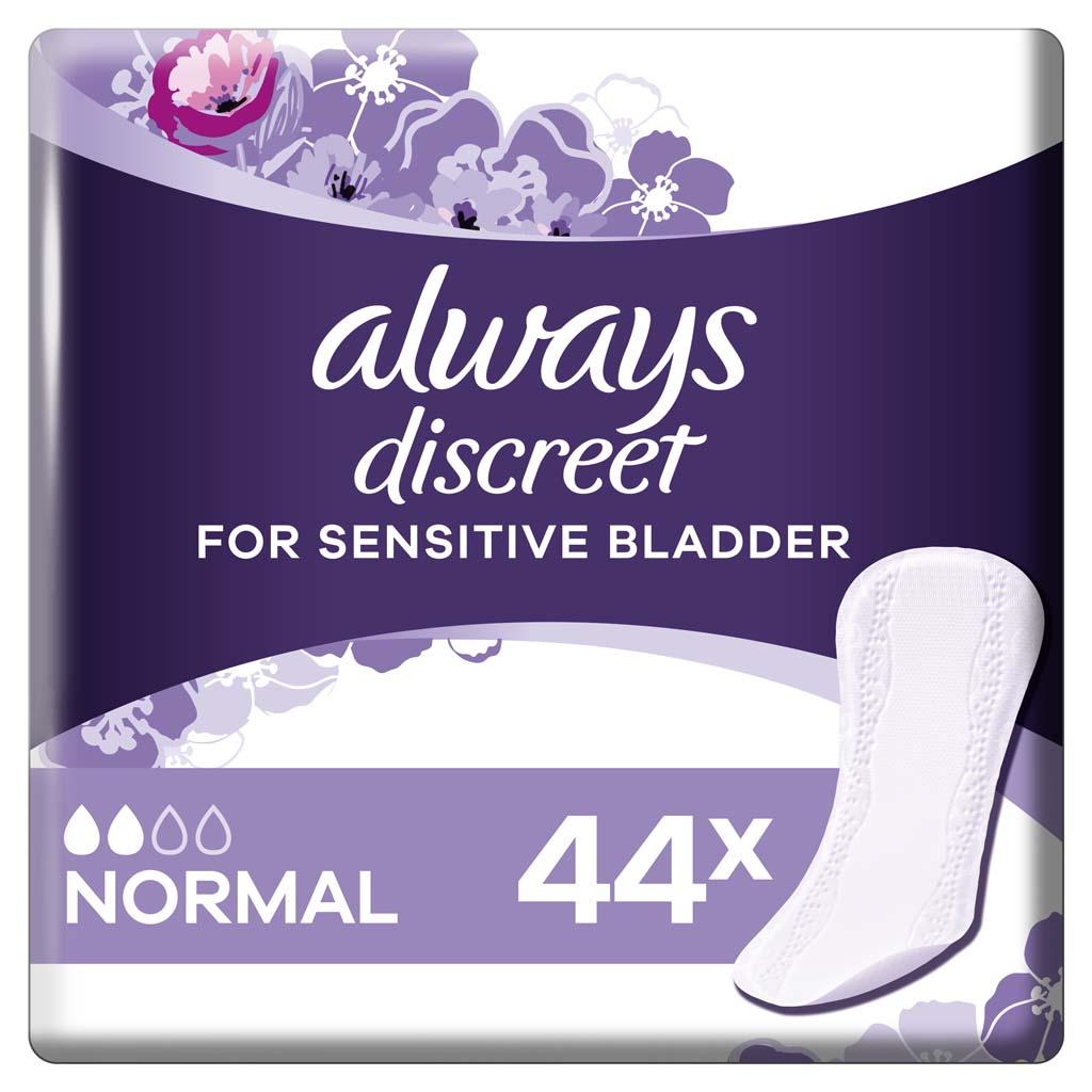 ALWAYS DISCREET Normal Vložky inkontinenčné vhodné aj pre citlivý močový mechúr 44 ks