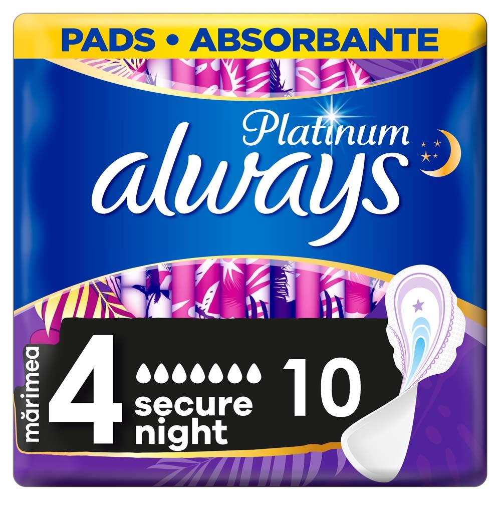 ALWAYS Platinum Secure Night Vložky hygienické 10 ks