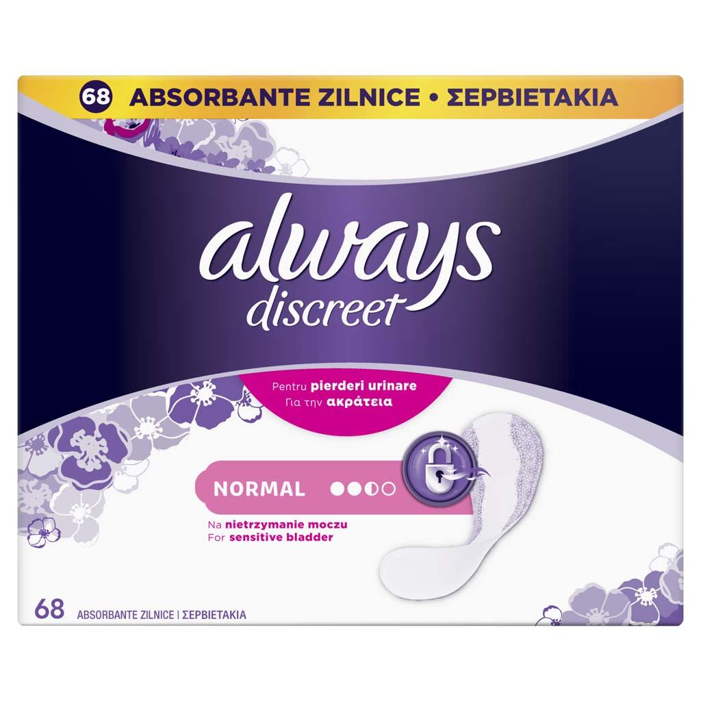 ALWAYS DISCREET Normal Vložky inkontinenčné vhodné aj pre citlivý močový mechúr 68 ks