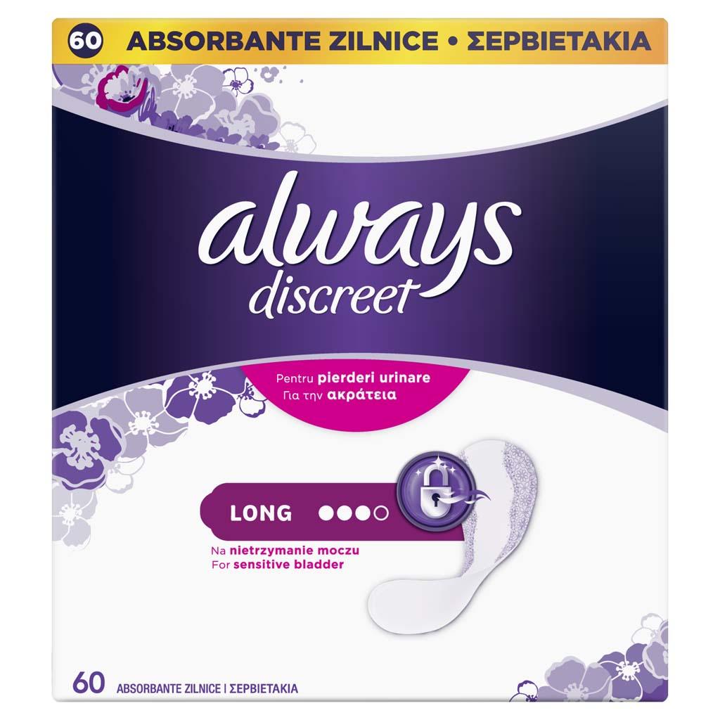 ALWAYS DISCREET Long Vložky inkontinenčné vhodné aj pre citlivý močový mechúr 60 ks