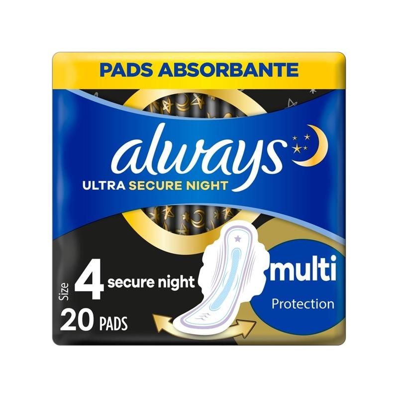 ALWAYS Ultra Secure Night Multi Protection Vložky hygienické 20 ks