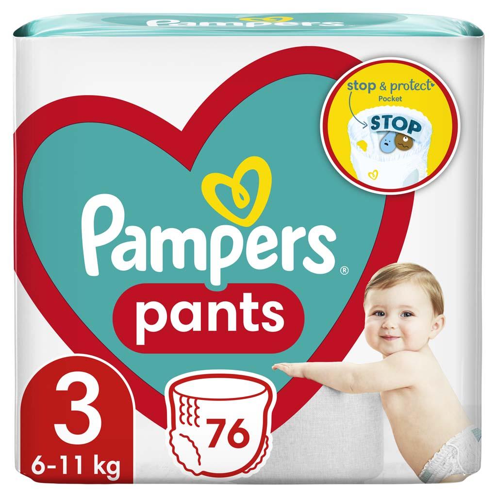PAMPERS Pants 3 (6-11 kg) 76 ks Midi - plienkové nohavičky