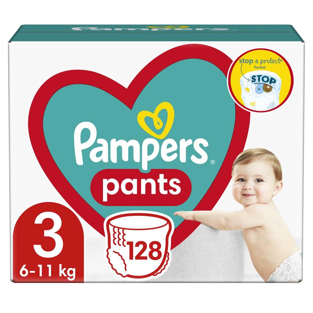 PAMPERS Pants 3 (6-11 kg) 128 ks Midi Mega box - plienkové nohavičky