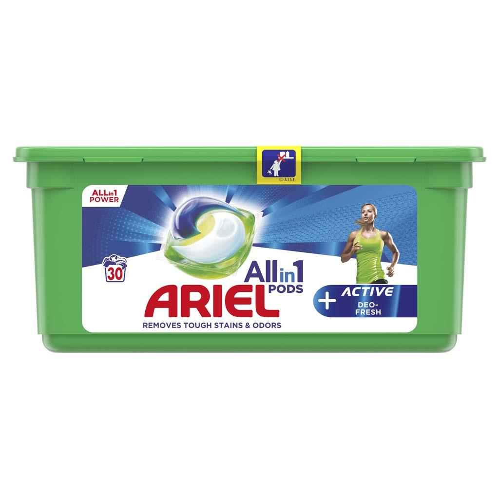 ARIEL Kapsuly gélové na pranie All-in-1 PODS Active Deo-Fresh, 30 praní
