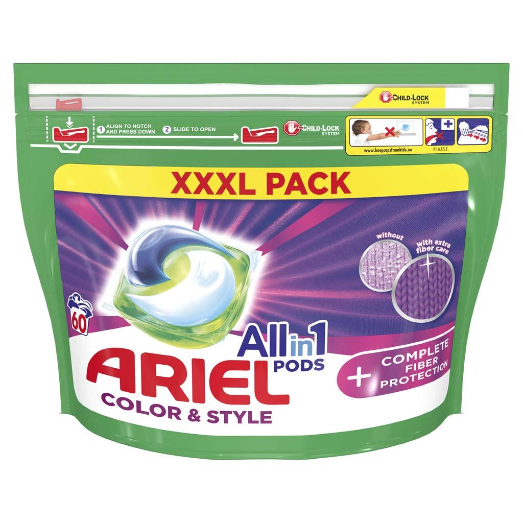 ARIEL Kapsuly gélové na pranie All-in-1 PODS Color&Style Complete Fiber Protection, 60 praní