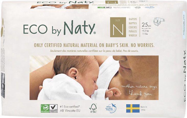 Plenky jednorázové Babycare 0 Newborn 1-4,5kg 25ks Naty Nature