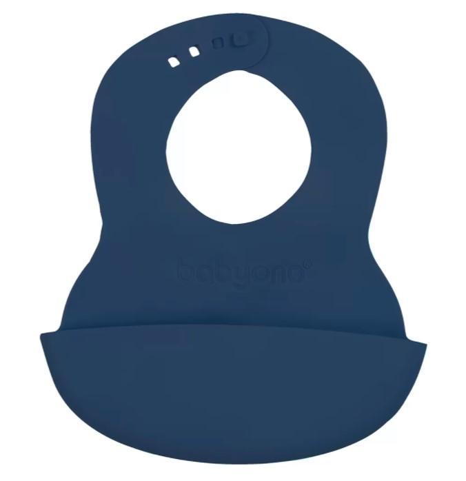 BABYONO Podbradník mäkký plastový s vreckom bez BPA dark blue 6 m+