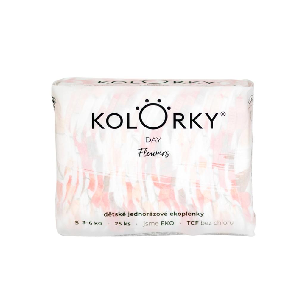 KOLORKY DAY - kvety - S (3-6 kg) - 25 ks - jednorazové eko plienky