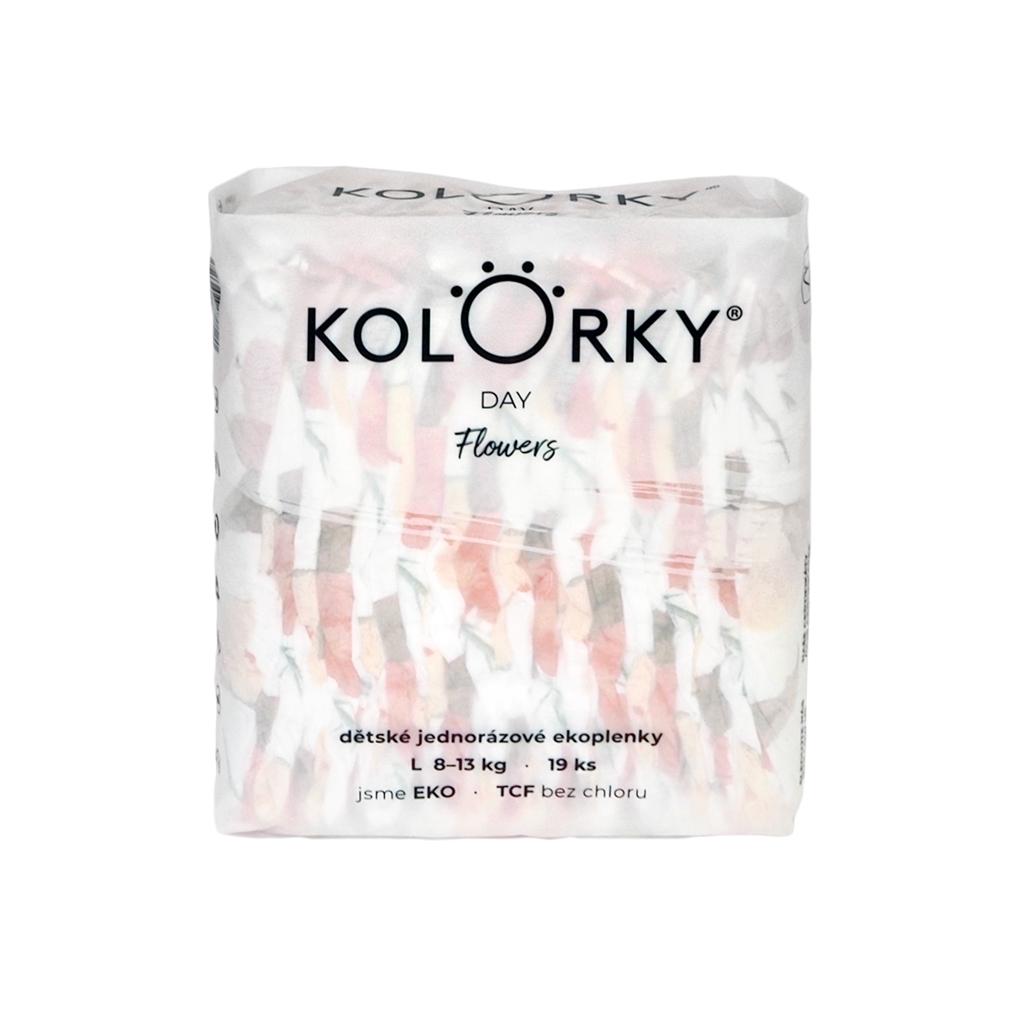 KOLORKY DAY - kvety - L (8-13 kg) - 19 ks - jednorazové eko plienky