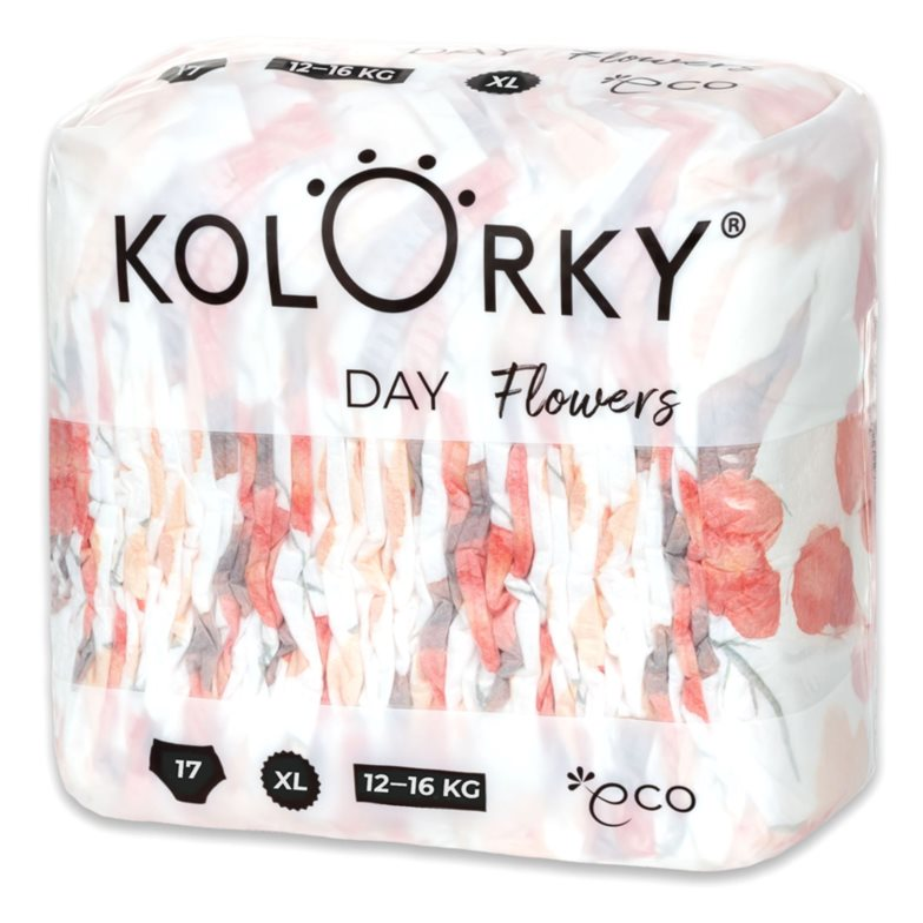 KOLORKY DAY - kvety - XL (12-16 kg) - 17 ks - jednorazové eko plienky