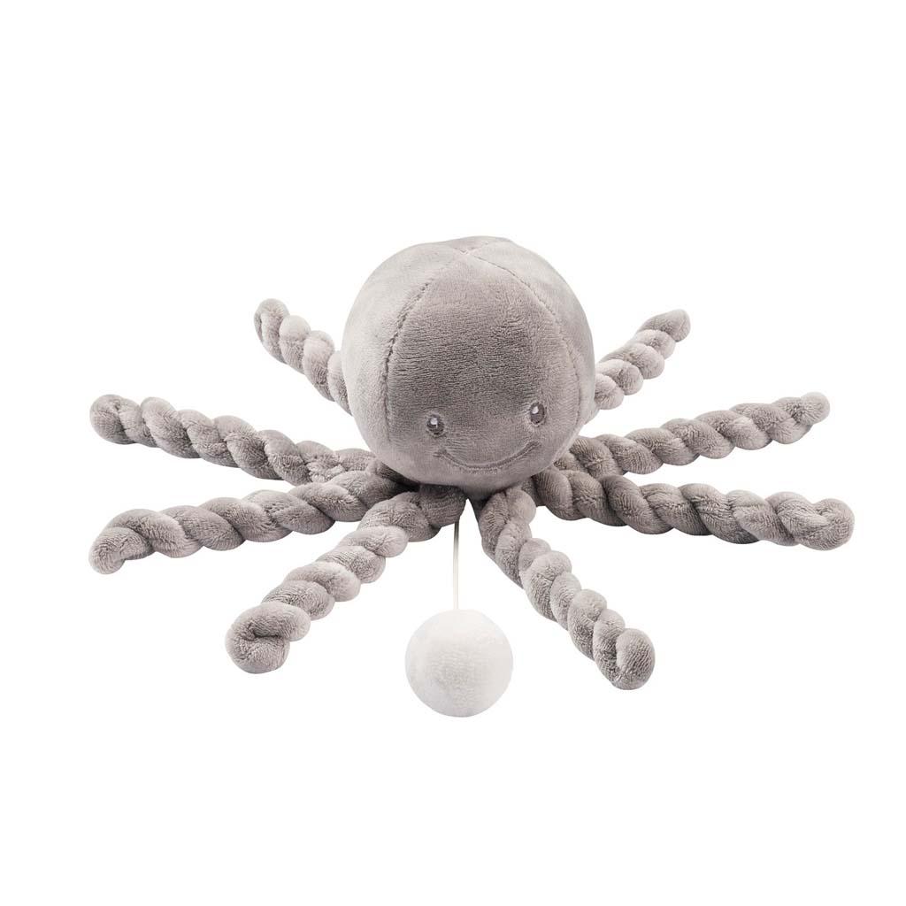 NATTOU První hrající hračka pro miminka chobotnička PIU PIU Lapidou grey 0m +