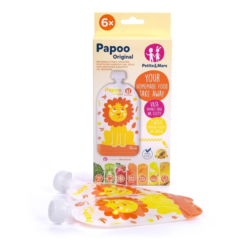 PETITE&MARS Vrecúško na jedlo Papoo Original Lion 6 ks