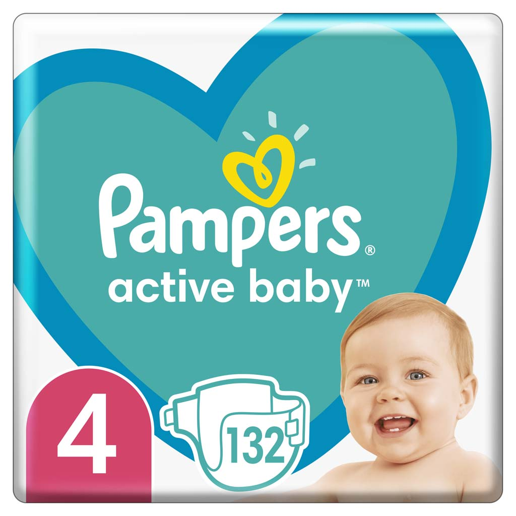PAMPERS Plienky Active Baby 4 MAXI 9-14kg 132ks