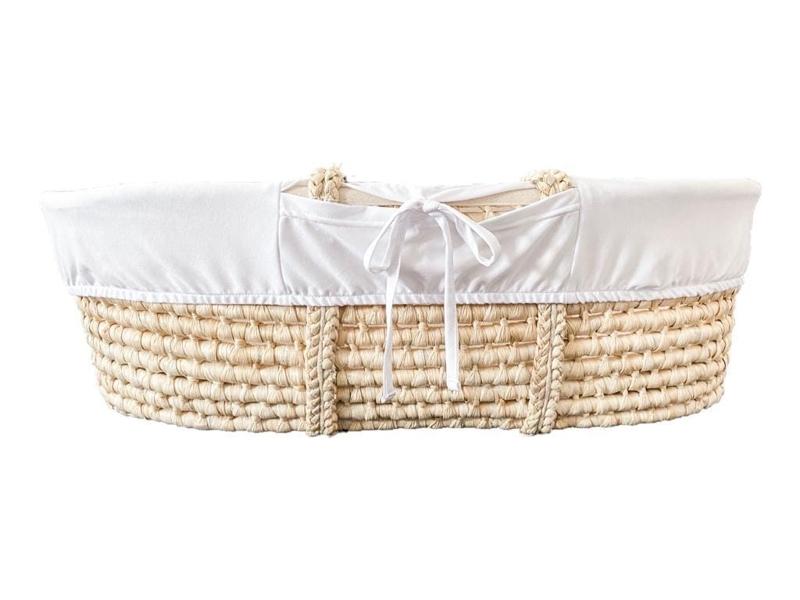 AHOJBABY Poťah do Mojžišovho košíka pre bábätko Organická bavlna White
