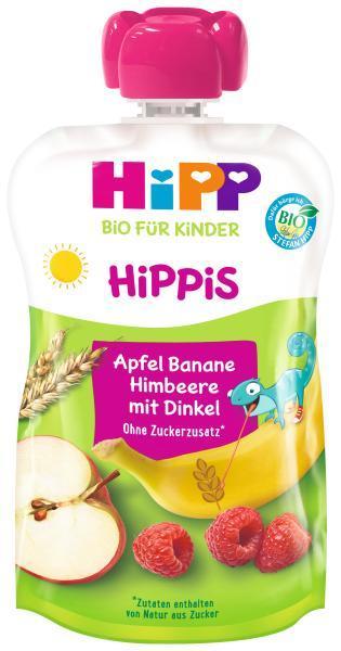 HiPP Kapsička BIOies jablko-banán-maliny-celozrnné obilniny 12m+ 100g