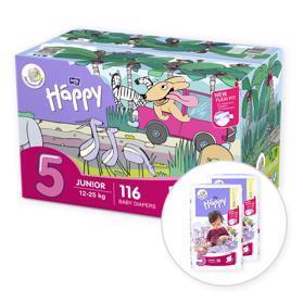 BELLA HAPPY Junior 5 Big TOY BOX  (12-25 kg) 116 ks - jednorazové plienky