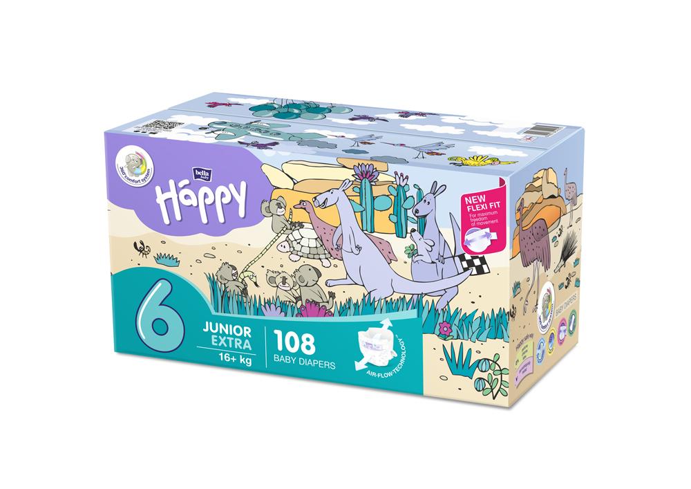 BELLA HAPPY Junior 6 Big TOY BOX (16+ kg), 108 ks – jednorazové plienky