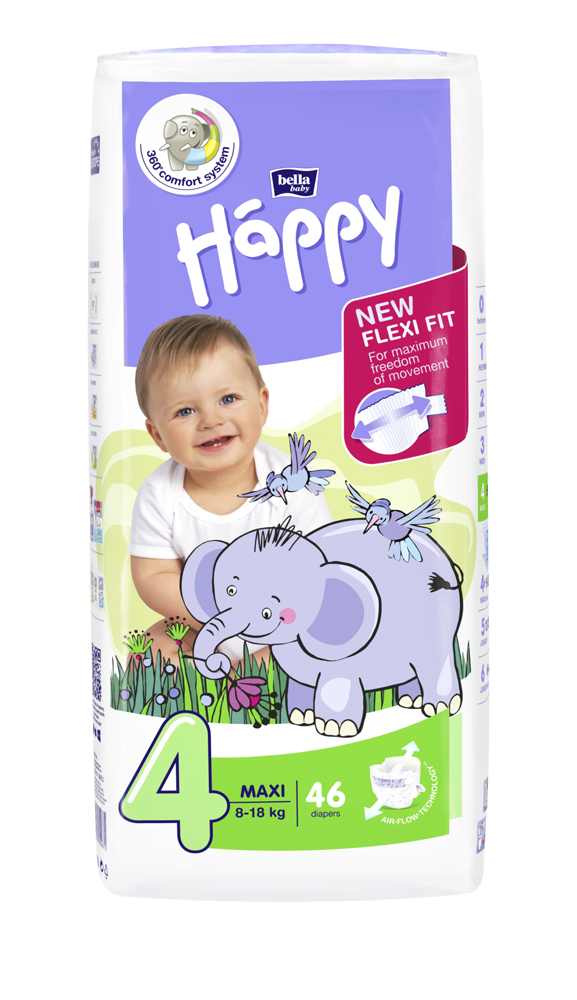 BELLA HAPPY Maxi 4 (8-18 kg) 46 ks – jednorazové plienky