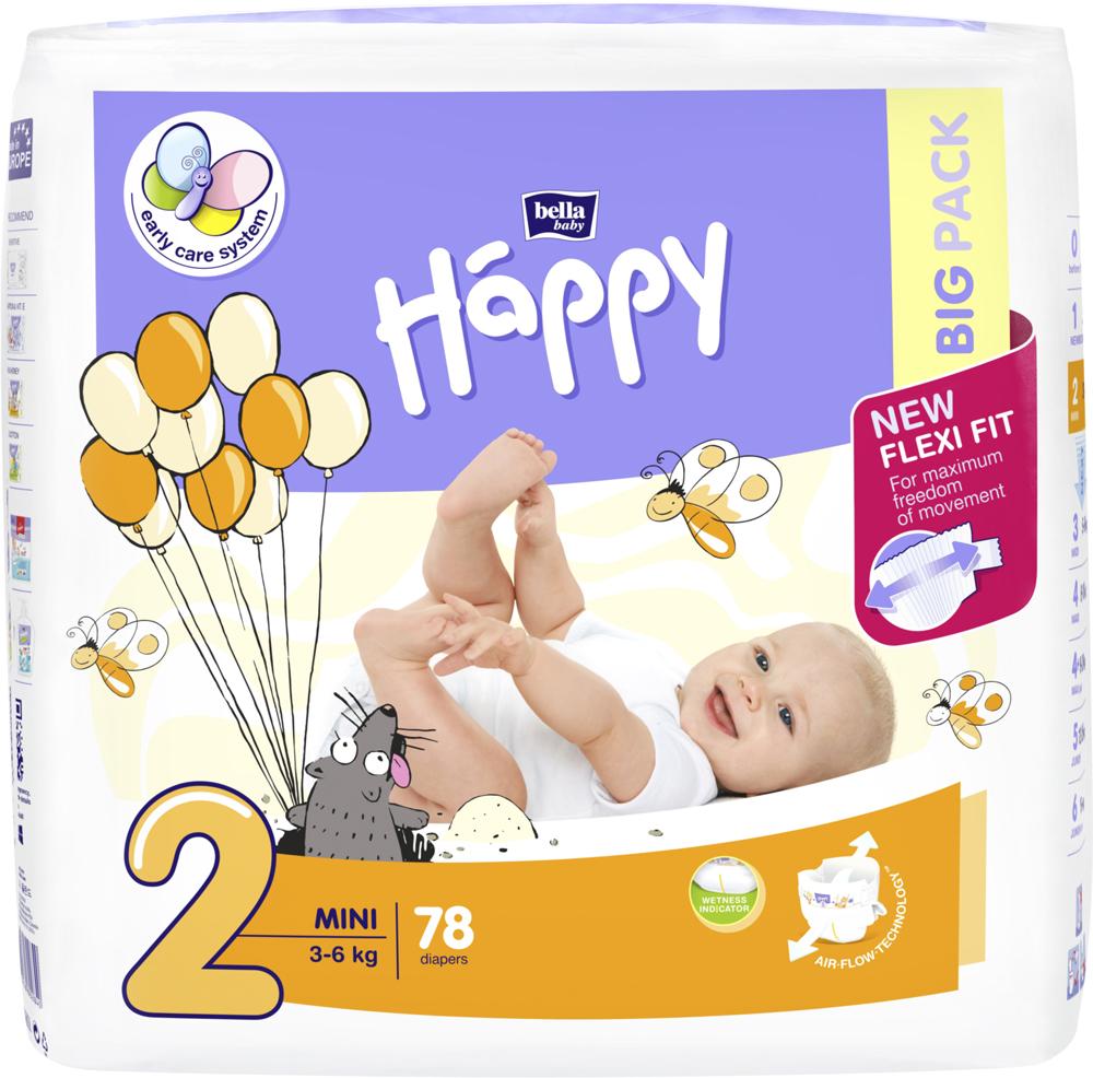 BELLA HAPPY Mini 2 (3-6 kg) Big Pack 78 ks – jednorazové plienky