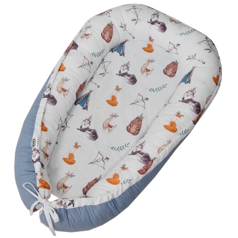 EKO Hniezdo pre bábätko bavlnené Indians Animals 90x60 cm