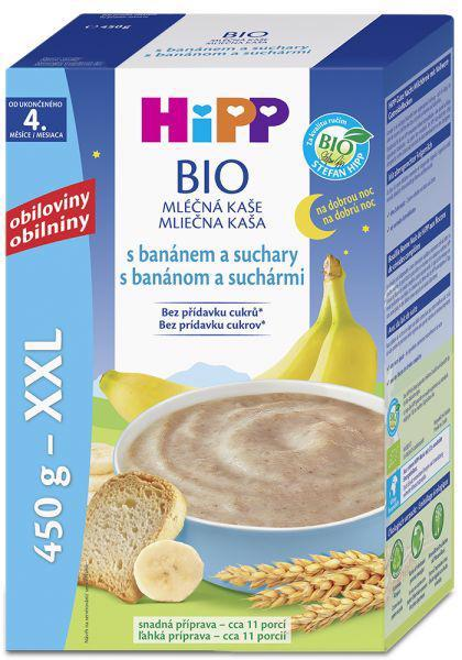 HiPP Kaša mliečna Bio na dobrú noc s banánom a suchármi 450g
