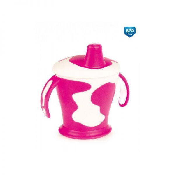 CANPOL BABIES Hrnček nevylievajúci kravička 9+ 250 ml ružový