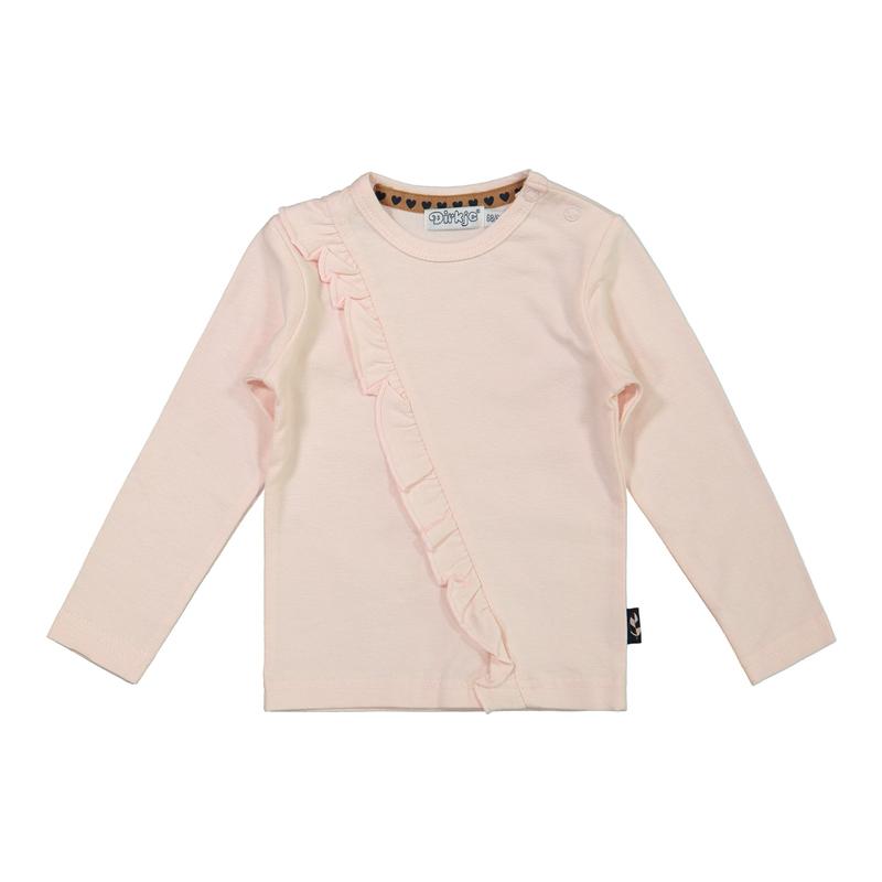 DIRKJE Tričko dl. rukáv s volánom Ružové dievča 74