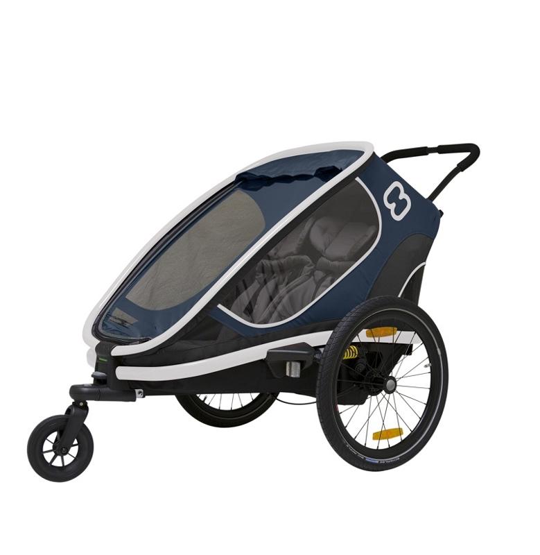 HAMAX Outback 2v1 - dvoumístný vozík za kolo vč. ramena + kočárkový set - Navy Blue, polohovací
