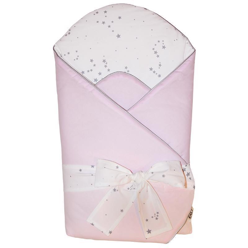 EKO Zavinovačka bavlnená s potlačou a kokosovým vnútrom Light Pink 75x75cm