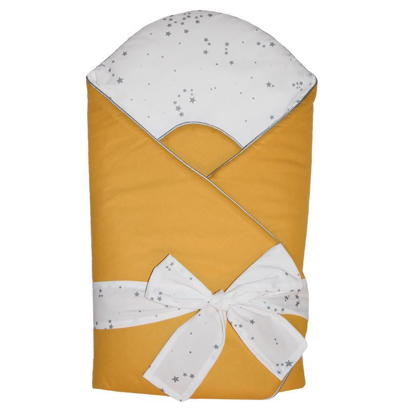 EKO Zavinovačka bavlnená s potlačou a kokosovým vnútrom Mustard Yellow 75x75cm