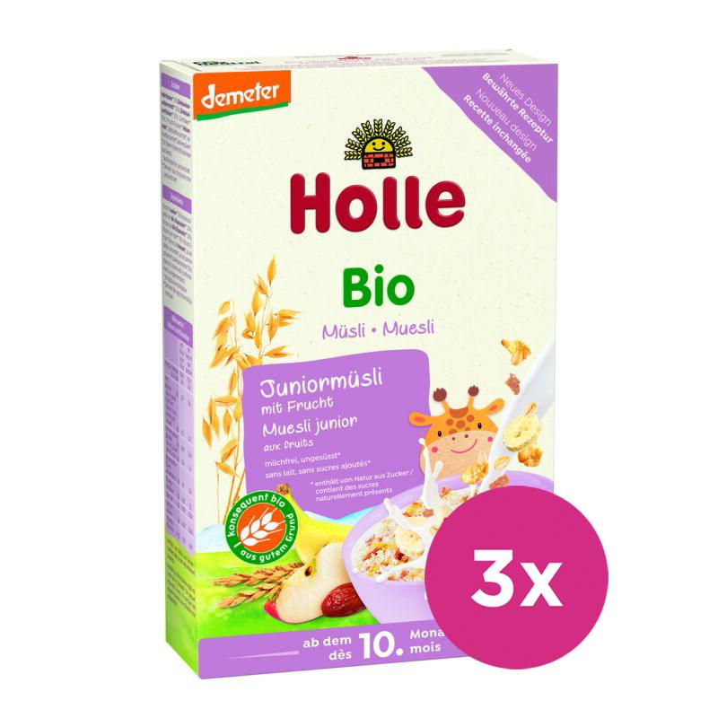 3x HOLLE Organické junior müsli viaczrnné s ovocím, 250 g