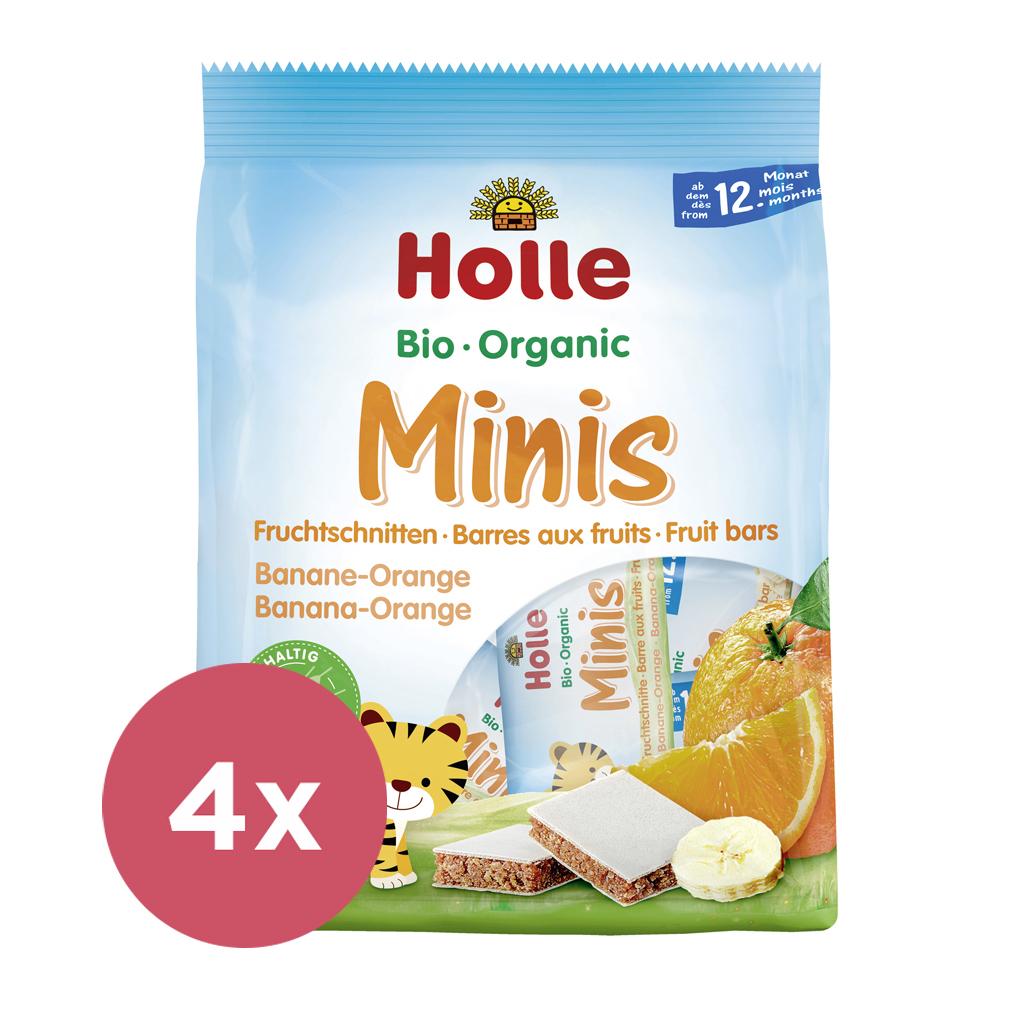 4x HOLLE Bio minis banánovo-pomarančové 100 g
