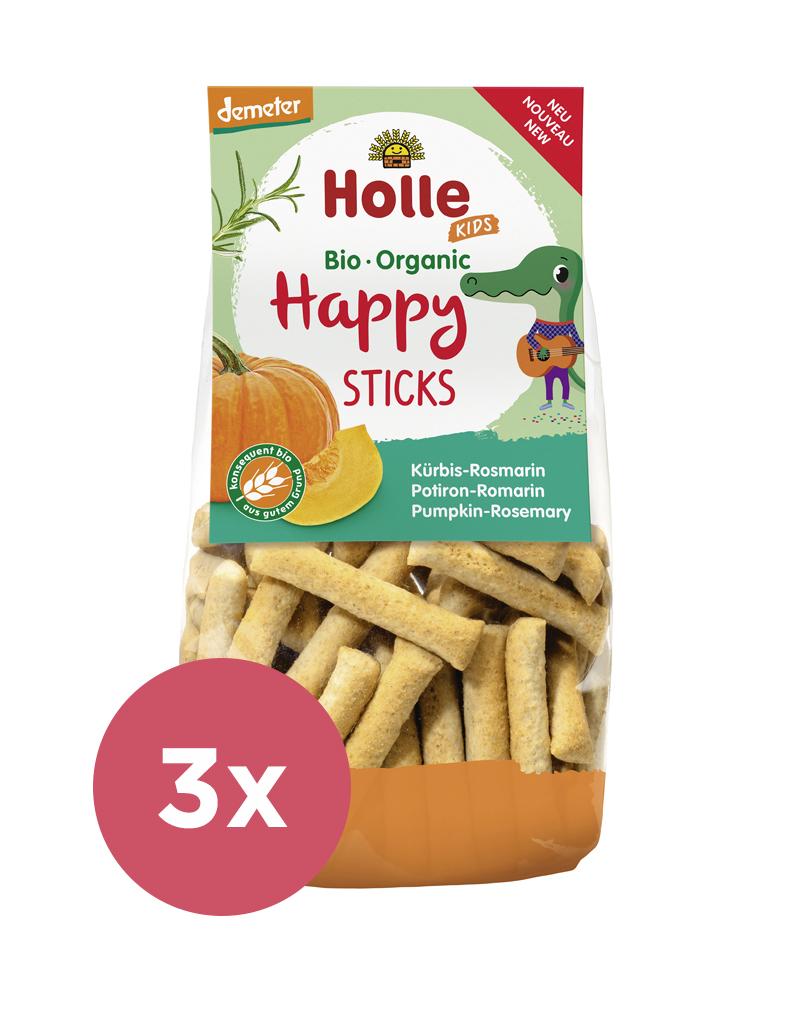 3x HOLLE Detské Bio Happy tyčinky tekvica-rozmarín, 100 g (3+)